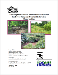 Accessing the Rockburn Branch Subwatershed of the Lower Patapsco River for Restoration Opportunities