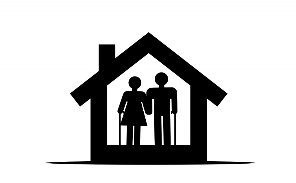 Stylized symbol of elderly couple in a house.