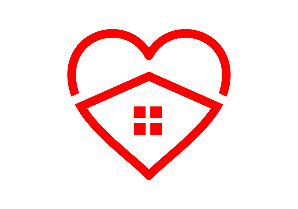 Line drawing of heart symbol with house symbol